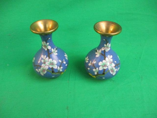 Pair of brass enamelled vases.  image