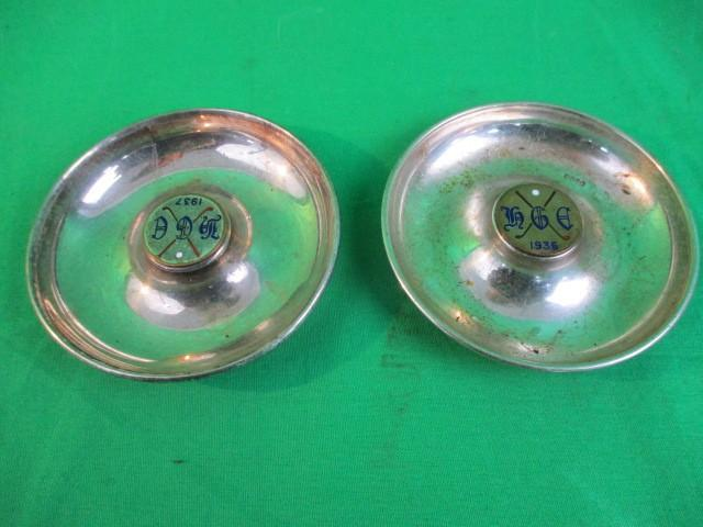 A pair of silver plated ash trays dated 1937 and 1938  image